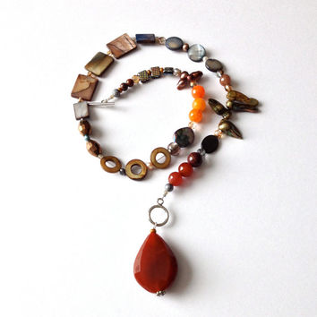 Carnelian, Agates, Pearl, Shell, Glass, Crystal Asymmetric Necklace