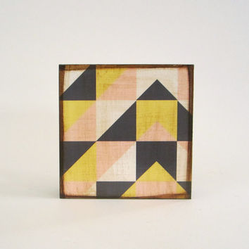 Modern Wall Decor l Art Block l Geometric Mountain Modern Traveler  wall hanging housewares 5x5 wood block geometric pattern pastel