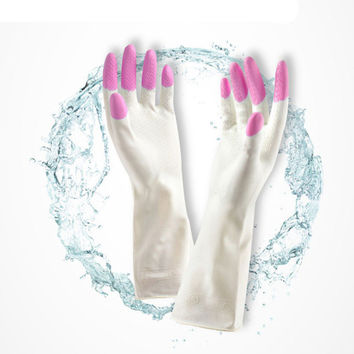 Women Long Sleeve latex Kitchen Wash Dishes Dishwashing Gloves House Cleaning Latex waterproof Gloves Guantes Tacticos #153 SM6