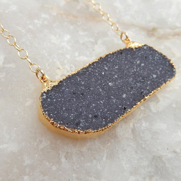 Dark Blue Druzy Bar Necklace 24K Gold Rectangle Quartz Crystal Drusy Gold Filled Chain - Free Shipping Jewelry