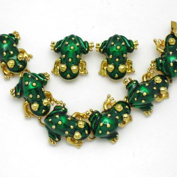 KJL Kenneth Jay Lane Figural Frog Bracelet Clip Earring SET