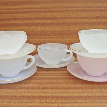 Vintage glass lustre cups and saucers by Arcopal France, Set of 5 beautiful pastel, 1960s, UK Seller