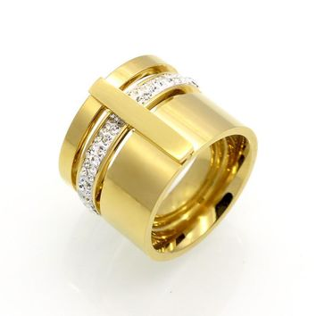 Gold Color Zircon Crystal Titanium Stainless Steel Rings For Women Men Wedding Jewelry Three Layers Beauty anillos Female Rings