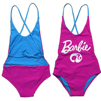 2017 Pink Barbie Bikinis Women Thong One Piece Swimwear Sexy Cut Out Letter Print Bodysuit Backless Monokini Beach Swim Suits L