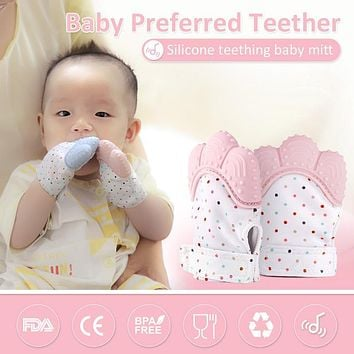 Silicone Baby Teether Pacifier Glove Natural Thumb Sound Teething Chewable Nursing Beads Child Give Up Sucking Fingers T0400