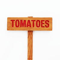 TOMATOES Garden Marker, Garden Sign Painted & Oil Sealed Cedar Wood: Hand Routed Sign, Vegetable Plant Garden Marker