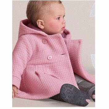2016 Winter Baby Girls Coats Infant Jackets Trench Jacket Children Overcoat Bebe Poncho Girl Hooded Outerwear