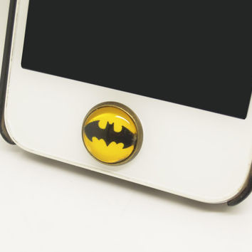 Retro Epoxy Batman Transparent Time Gems Alloy  Cell Phone Home Button Sticker Charm for iPhone 4s,4g,5,5c