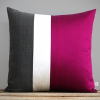 Silk Colorblock Pillow by Jillian Rene Decor - Pink Splendor, Cream and Gray