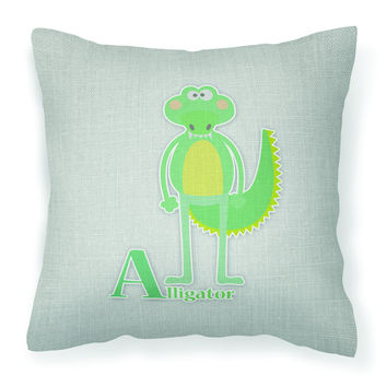 Alphabet A for Alligator Fabric Decorative Pillow BB5726PW1818