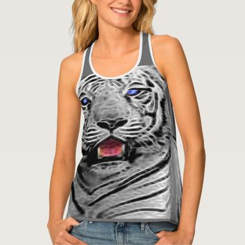 Black and white tiger on a tank top
