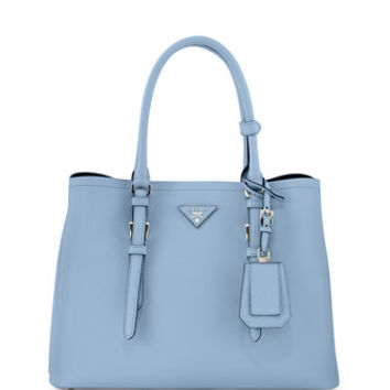 Prada Saffiano Cuir Covered-Strap Double Bag, Blue