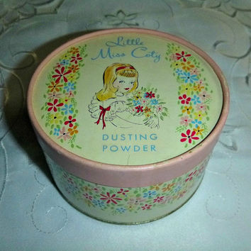 40s Coty Dusting Powder Box Tin Vintage Little Miss Coty Powder 50s Shabby Chic Floral Jewelry Keepsake Box Cottage Chic Vanity Beauty Tin