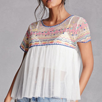 Sheer Embroidered Babydoll Top