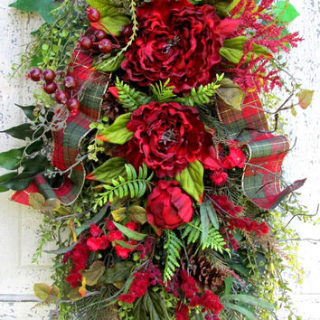 fall swag wreath, floral door swag, year round wreath, all season wreath, everyday swag, winter  wreath, french country cottage, red wreath