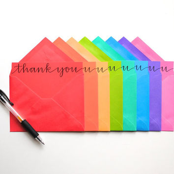 Thank You Cards Rainbow Stationery Modern by EmDashPaperCo on Etsy