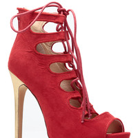 Red Peep Toe Lace Up Hollywood Heels