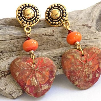 Clip on Earrings for Women, Orange Earrings, Long Dangle Earrings, Handcrafted Jewelry, Costume Jewelry Earrings, Big Earrings
