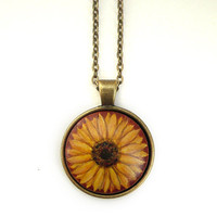 Trendy Sunflower Necklace, Hand Painted Botanical Pendant Watercolor Gouache Painting Jewelry, Vintage Style