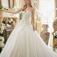 Mori Lee 2892 Strapless Beaded Bodice Ball Gown Wedding Dress – Off White by Bridal Expressions