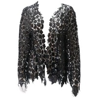 Chanel Evening Boléro Full Guipure Embroidered with Black Sequins Size 44 FR