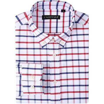Men's Standard-Fit Plaid Oxford Dress Shirts Smart Casual Button down Collar Long Sleeve Easy Care Cotton Workwear Tops Shirt