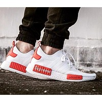 Supreme Sup x Adidas NMD R1 White/Red Runner PK S79668 Boost Fashion Trending Sport Running Shoes Casual Shoes Sneakers