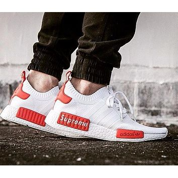 Best Online Sale Supreme Sup x Adidas NMD R1 White/Red Runner PK S79668 Boost Fashion