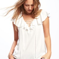 Relaxed Sleeveless Lace-Up Blouse for Women | Old Navy