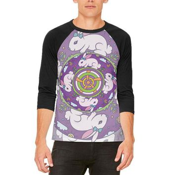 LMFCY8 Mandala Trippy Stained Glass Easter Bunny Mens Raglan T Shirt