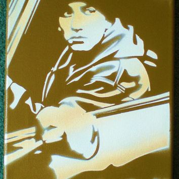 eminem painting in gold,stencils and spray paints, custom, hip hop, urban,eightmile, movies, music, rap,canvas, him,america, wall art,
