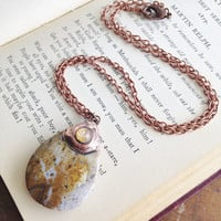 Ocean Jasper Teardrop Pendant Necklace