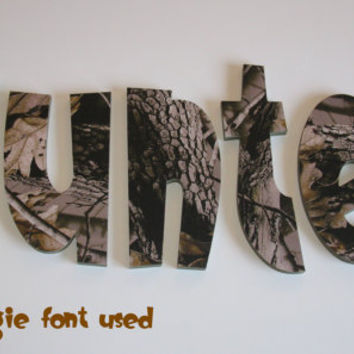 Realtree Hardwoods Camo Hunting Nursery Children's Room Wall Decor Letters