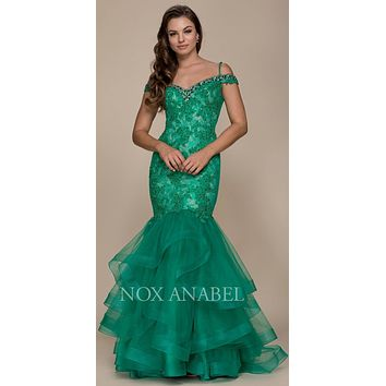 Cold Shoulder Tiered Mermaid Long Prom Dress Green