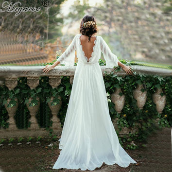 Mryarce Lace Bohemian Chiffon Summer Wedding Dresses Coutry Style Low V Backless Hippie Style Ceremony Boho Chic Bridal