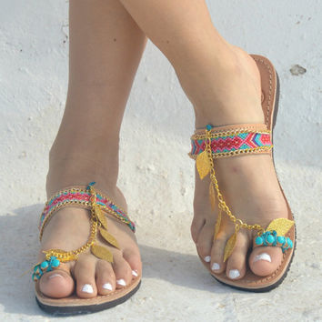 Boho Sandals/Leather Slides Sandals/Womens gypsy sandals/Sandals/Bohemian shoes/Boho/Indie/Hippie/ Ancient Greek Sandals/Barefoot sandals