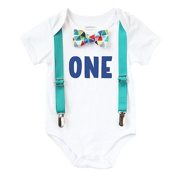 First Birthday Outfit Boy Teal and Rainbow Colorful Bow Tie Blue One
