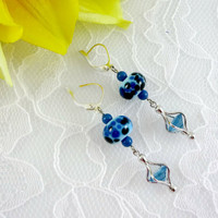 Blue & black lampwork earrings, silver Earrings, CZ Dangle Earrings
