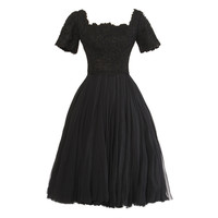 Galanos Rare Vintage 1950's Couture Full Sweep Silk Chiffon + Lace Dress