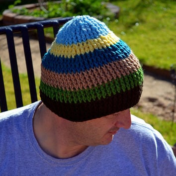 Crochet Mens winter Beanie