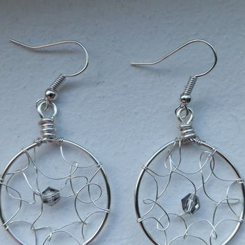 Wire wrapped dream catcher earrings, silver artistic wire, hypo-allergenic, neutral colored crystals,hand made