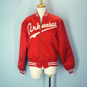 Vintage Arkansas Razorbacks Puffy Satin Jacket Coat Size Small