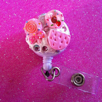 Pink Kawaii Food Theme ID Badge Clip by JMxSweets on Etsy