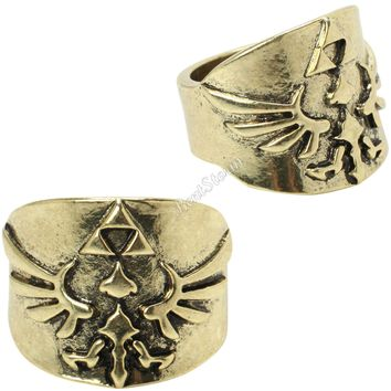 Licensed cool NEW Nintendo The  Legend of Zelda Triforce LOGO Gold Toned Costume Ring S SZ 7