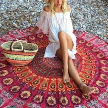 Peacock Print Red Boho Beach Blanket