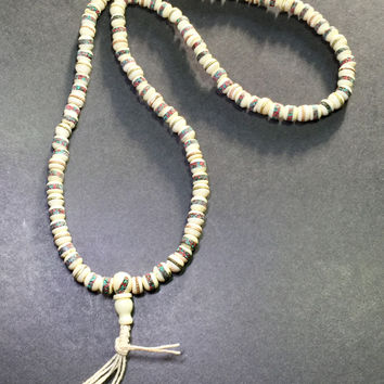 "25"" 108 Tibetan 108 Bone mosaic/metal Mala/Prayer Beads"