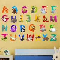 Cartoon Colorful  26 Letters alphabet Wall Stickers For Kids Rooms Nursery Room Decor Children Wall Decal Art poster gift
