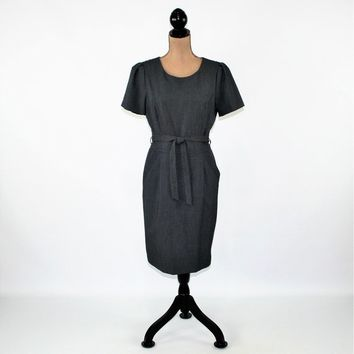 Short Sleeve Gray Dress Women Medium Midi Dress Belted Minimalist Dress with Pockets Size 10 Calvin Klein Womens Clothing