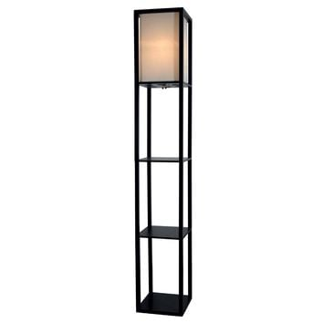 Room Light Floor Lamp with Shelves - By Lightaccents - Corner Storage Tall Standing Bookshelf Living Room Lamp - Bedroom standup Light With Wooden Tower Storage Shelves and White Cotton Linen Shade for your room decor (Black)