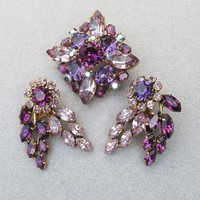 Made In Austria Vintage Lilac, Purple Rhinestone Pin & Earrings Set, Vintage Demi Parure